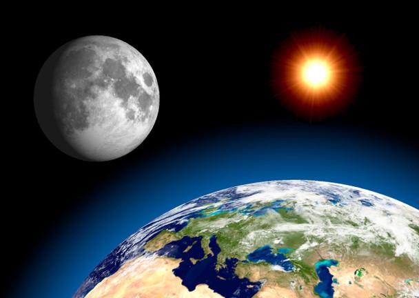 Earth Moon and Sun Postcard