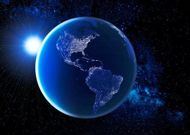 Earth (Americas) by night - Postcard