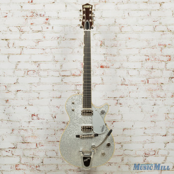 """Gretsch G6129t-59 Vintage Select '59 Silver Jet Electric Guitar With Bigsby, 22 Frets, """"v"""" Neck, Ebony Fingerboard, Tv Jones Classic Pickup"""