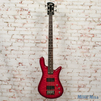 OLP SB-4 4-String Electric Guitar Trans Quilt Red x5799 (USED)