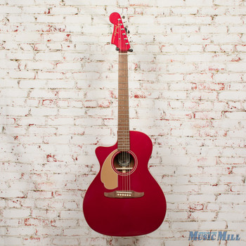2018 Fender Newport Player  LH Acoustic Electric Guitar Candy Apple Red x0573 (USED)