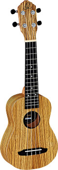 Ortega Guitars RFU10Z Friends Series Soprano Ukulele with Zebrawood Top & Body in Satin Finish, 15 Frets