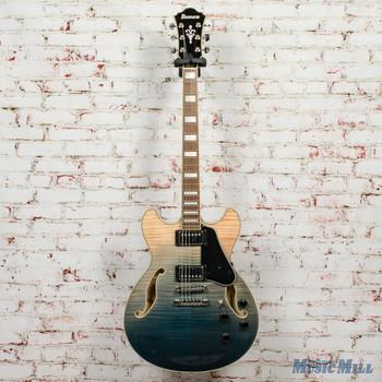Ibanez AS73FM Hollowbody Electric Guitar - Transparent Indigo Fade x2163