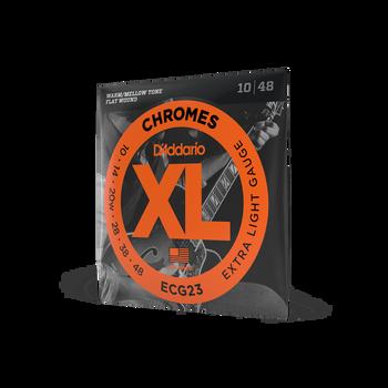 D'Addario ECG23 XL Chromes Flat Wound Electric Guitar Strings, Extra Light Gauge, 10-48