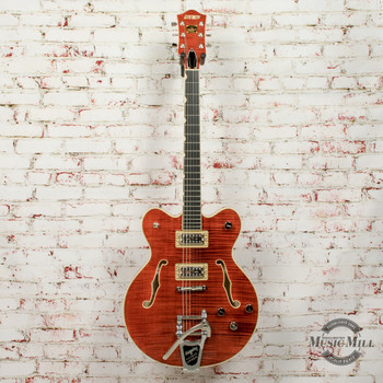 Grestch G6609TFM Players Edition Broadkaster Center Block Double Cut with String-Thru Bigsby and Flame Maple, USA Fulltron Pickups Electric Guitar Hollowbody Bourbon Stain x1200