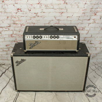 1969 Fender Bassman Head Silverface with Matching Cab x1489 (USED)