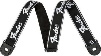 "Fender Quick Grip Locking End Strap, Black with White Running Logo, 2"""