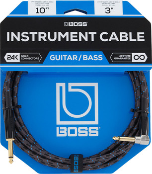 BOSS BIC-10A - 10ft Instrument Cable Angled/Straight
