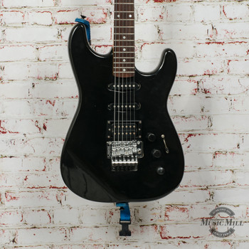 Vintage 1989 Squier HSS Stratocaster Electric Guitar with Floyd Rose Black (USED) x1446