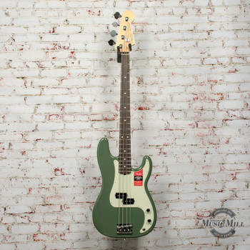 Fender American Pro Precision Bass® Electric Bass, Rosewood Fingerboard, Antique Olive x1033
