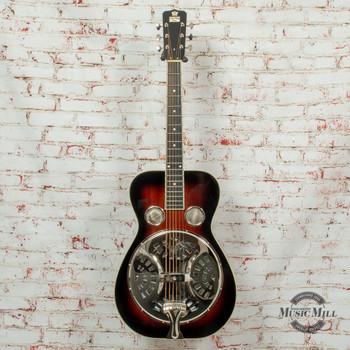 Recording King Professional Series Roundneck Resonator Acoustic Guitar Vintage Sunburst x8493