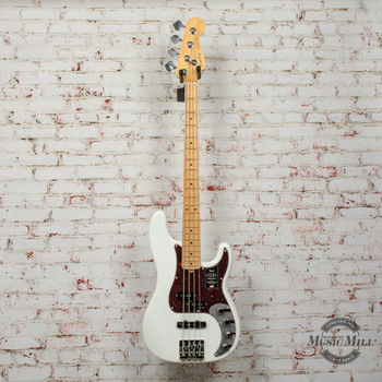 Fender American Ultra Precision Bass® Electric Bass, Maple Fingerboard, Arctic Pearl x5509
