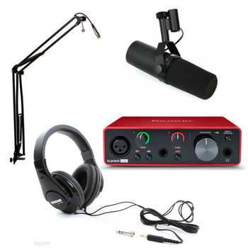 Focusrite Scarlett Solo USB 3rd Gen Podcasting Bundle w/Shure SM7B, Broadcast Boom Arm and Shure SRH420 Headphones