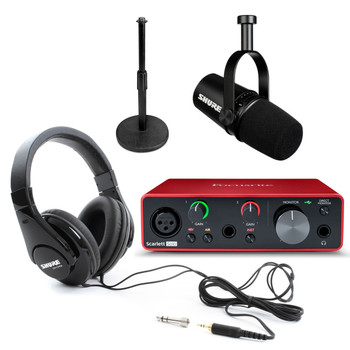 Focusrite Scarlett Solo USB 3rd Gen Podcasting Bundle w/Shure MV7 Mic, Shure SRH240 Headphones, and Desktop Stand