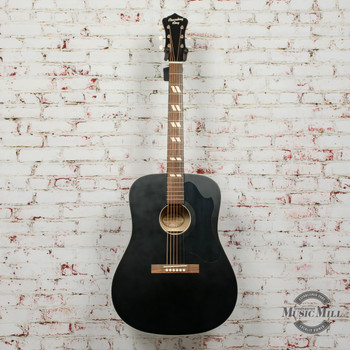 Recording King Dirty 30's Series 7 RDS-7 Dreadnought Acoustic Guitar Black x9347