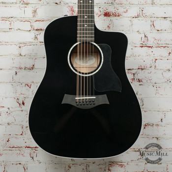 Taylor 250ce Deluxe 12-String Acoustic/Electric Guitar Black x0350