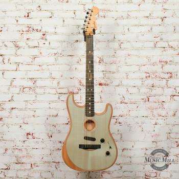 Fender American Acoustasonic® Strat® Electric Guitar, Ebony Fingerboard, Transparent Sonic Blue x802A