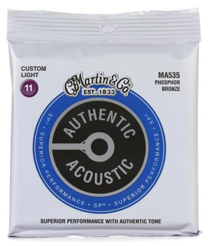 Martin Authentic Acoustic SP MA535 92/8 Custom Light Acoustic Guitar Strings .011-.052