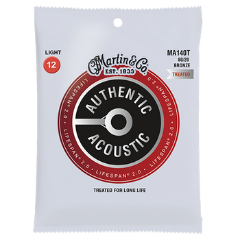 Martin Authentic MA140T Lifespan 80/20 Light .012-.054 Acoustic Guitar Strings