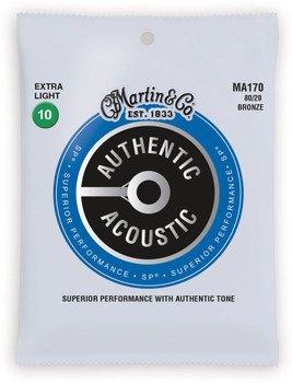 Martin MA170 Authentic Acoustic SP® 80/20 Bronze Guitar Strings Extra Light .010-.047