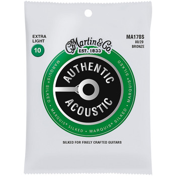 Martin MA170S 80/20 Authentic Acoustic Marquis® Silked Guitar Strings Extra Light .010-.047