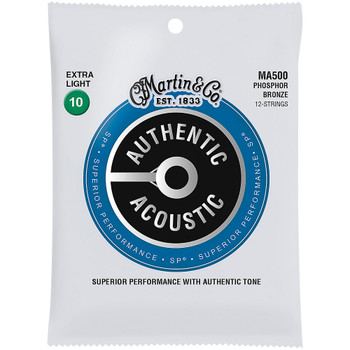Martin 12-String MA500 92/80 Authentic Acoustic SP® Bronze Guitar Strings Extra Light .010/.010-.047/.027
