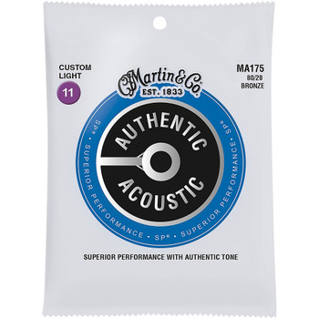 Martin MA175S 80/20 Authentic Acoustic Marquis® Silked Guitar Strings Custom Light .011-.052