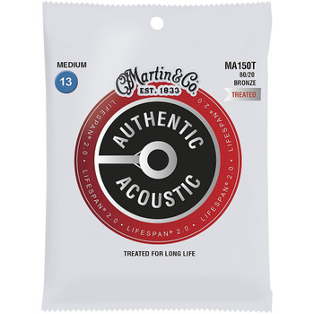 Martin MA150T 80/20 Authentic Acoustic Lifespan® Guitar Strings Medium .013-.056