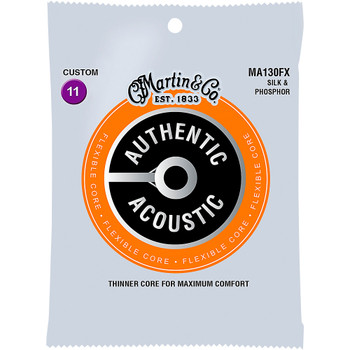 Martin MA130FX Silk & Phosphor Authentic Acoustic Flexible Core Guitar Strings Custom Gauge .0115-.047