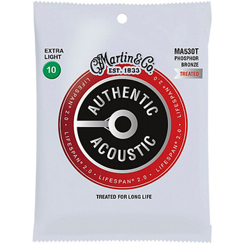 Martin MA530T Authentic Acoustic Lifespan® Guitar Strings Extra Light .010-.047