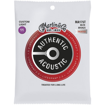 Martin MA175T Authentic Acoustic Lifespan® Guitar Strings Custom Light .011-.052