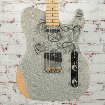 Fender Brad Paisley Road Worn Telecaster Electric Guitar Silver Sparkle x7176