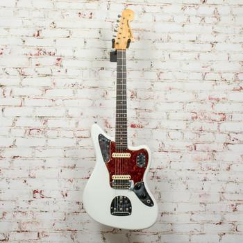 Vintage 1962 Fender Pre-CBS Jaguar Electric Guitar Sonic Blue Refinished x3420 (USED)