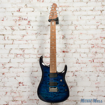 Sterling JP157 7-String Electric Guitar, Quilted Maple Top, Neptune Blue x7706 (USED)