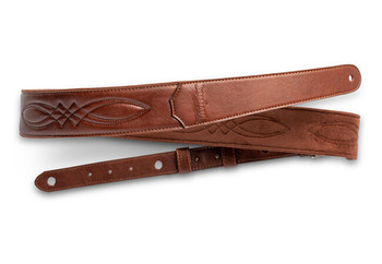 """Taylor Vegan Leather Strap, Med Brown w/Stitching,  2.0"""" Embossed Logo"""