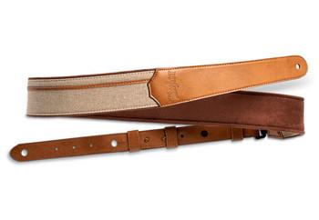 "Taylor Vegan Leather Strap, Tan w/Natural  Textile,2.5"", Embossed Logo"