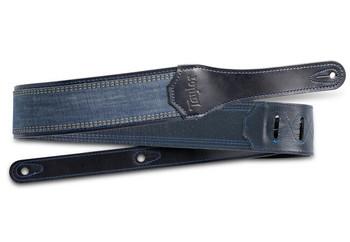 "Taylor Blue Denim Strap, Navy Leather Edges,  2.5"" Embossed Logo"