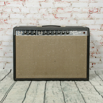 Vintage 1965 Fender Deluxe Reverb Blackface 22-Watt Guitar Combo Amp x5354 (USED)