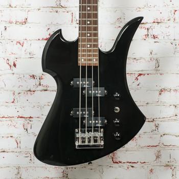 BC Rich Platinum Mockingbird Bass Black x1571 (USED)