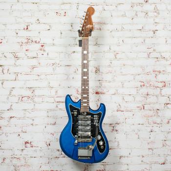 Vintage 1960s Teisco MIJ ET-440 Electric Guitar Blue w/ Chipboard Case x3567 (USED)