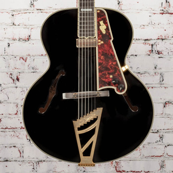 """D'Angelico B-Stock Excel 16"""" Non-Cutaway Hollowbody Style B - Black x1131"""