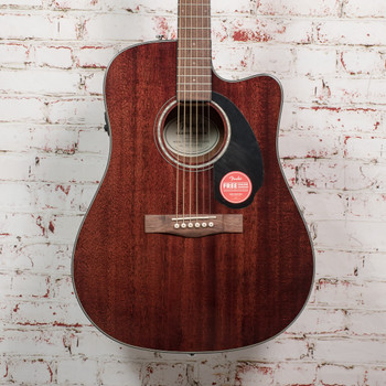 Fender CD-60SCE Dreadnought Acoustic Electric Guitar, Walnut Fingerboard, All-Mahogany x0872 (USED)