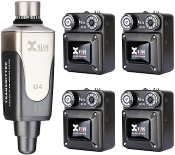 Xvive U4R4 Wireless in-Ear Monitoring System IEM System for Studio, Band Rehearsal,Live Performance Transmitter and Beltpack Receiver (1 Transmitter and 4 Receiver)