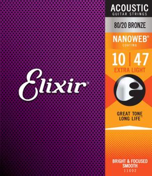 Elixir Strings 80/20 Bronze Acoustic Guitar Strings w NANOWEB Coating, Extra Light (.010-.047)