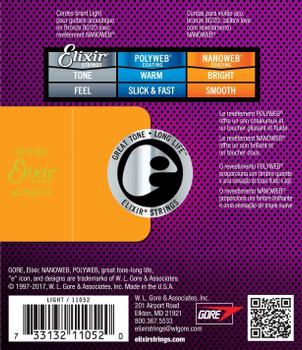 Elixir 11052 Nanoweb 80/20 Bronze Light Acoustic Guitar Strings