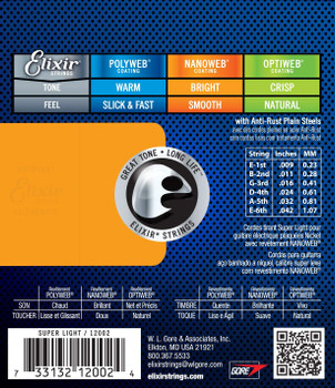 Elixir 12002 Nanoweb Super Light Electric Guitar Strings .009-.042