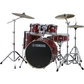 Yamaha SBP0F56WCR Stage Custom Birch Shell Package (Cranberry Red) with HW-680W