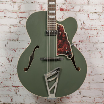 D'Angelico Premier Excel Hollow-Body Electric Guitar Army Green w/ Bag x2415 (USED)