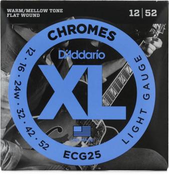 D'Addario ECG25 XL Chromes Flatwound Electric Guitar Strings - .012-.052 Light