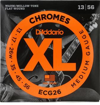 D'Addario ECG26 XL Chromes Flatwound Electric Guitar Strings - .013-.056 Medium